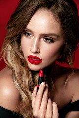 Red Lips Makeup. Female Model With Beauty Makeup.