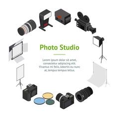 Photo Studio Equipment Banner Card Circle Isometric View. Vector