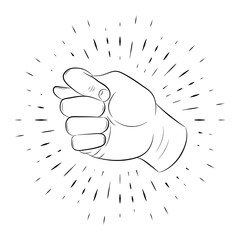 Hand gesture, figs, a fist of fingers, drawn by hand, a contour, against a background of linear rays. For the design of posters, banners, logos. 10 eps