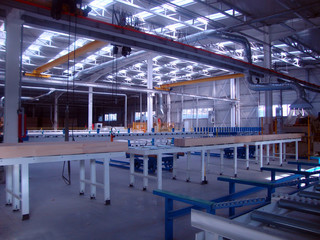 Factory production wood beams