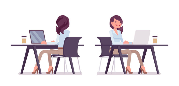 Smart casual woman sitting and working