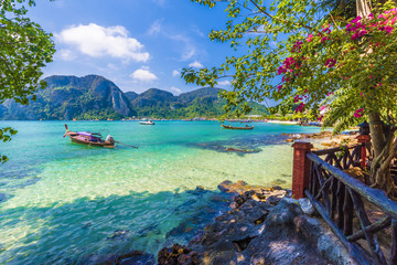 Wall Mural - Beautiful summer scene and destination with mountains and turquoise sea water in Ton Sai Bay village, region of Phi Phi, Thailand