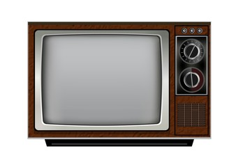 Retro old vintage television on white background