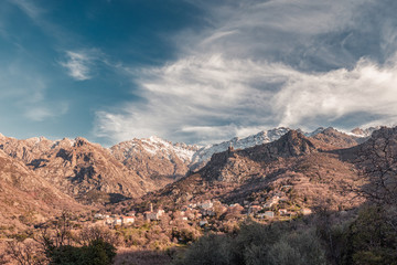 Afternoon sun on the village of Feliceto in Corsica