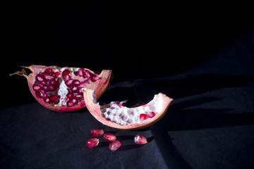 Pomegranate against black background