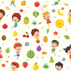 Seamless Pattern Of Kids And Nature Elements