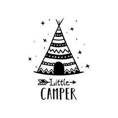 Little camper scandinavian style hand drawn poster. Vector illustration.