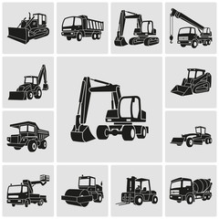 Heavy equipment and machinery detailed icons set