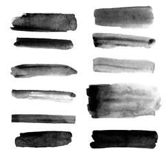 Vector set of different grunge brush strokes.