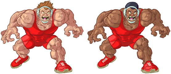 Caucasian and African American Wrestler Vector Mascots