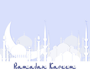 Ramadan Kareem. Greeting card. Stylized drawing of the silhouette of the eastern city. Cut from white paper. illustration