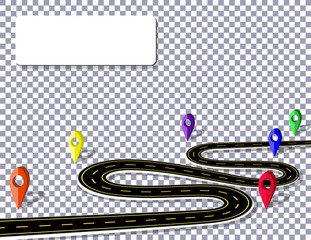 Winding road with signs on a checker background in perspective. Meauto for advertising, announcements. The marks indicated by the navigator. illustration