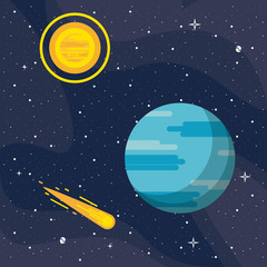 Neptune in the space vector illustration graphic design