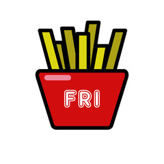 French fries isolated vector icon on white background