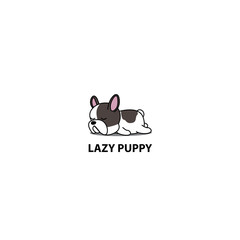 Lazy dog, cute french bulldog puppy sleeping icon, logo design, vector illustration