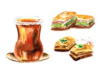Turkish tea in traditional glass and baklava set. Watercolor hand drawn illustration, isolated on white background