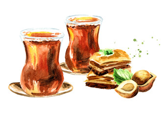 Turkish tea in traditional glass and baklava with hazelnut. Watercolor hand drawn illustration, isolated on white background