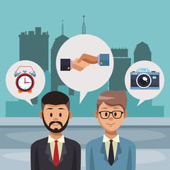 Businessmens talking cartoon at city vector illustration graphic design