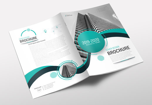 Business Brochure Cover Layout with Teal Accents
