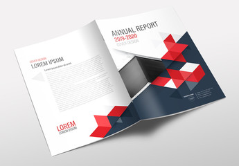 Annual Report Cover Layout with Red Accents