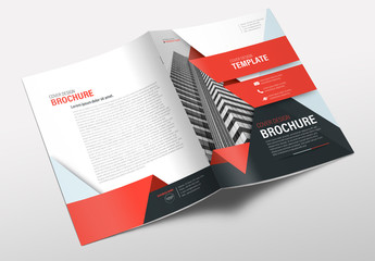 Business Brochure Cover Layout with Red Accents