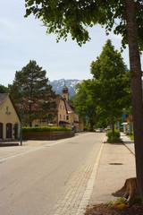 Street in center in town of Hinterstoder, Austria