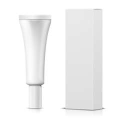 Vector 3d realistic cream tube with paper box on white background with reflection. Mock-up for product package branding.