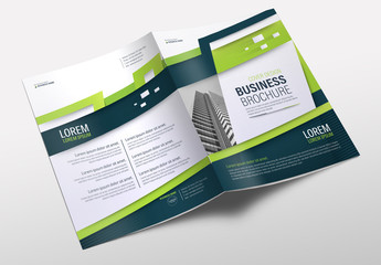 Business Brochure Cover Layout with Green Accents