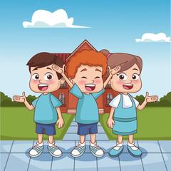 Schoolboys outside school building vector illustration graphic design