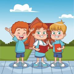 Students kids outside school building vector illustration graphic design