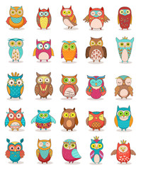 Set of colorful cartoon funny owls isolated on white background. Owls vector illustration for children design