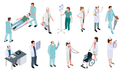Medical doctor and nurse patients treatments vector illustration. Set of medical profession isometric icons isolated on white background.