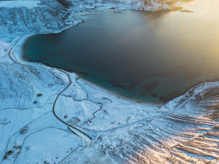 Aerial winter view of Lofoten Islands beach, Norway, shot from drone