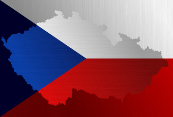 Czech flag with a contour of border
