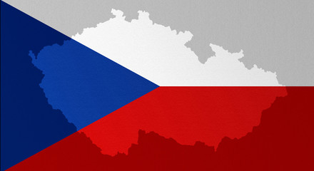 Illustration of a Czech flag with a contour of border