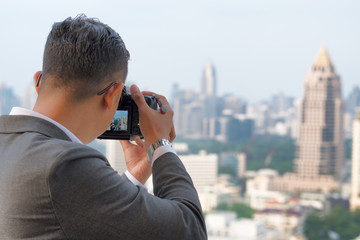 Landscape Photography, Photographers take pictures of the buildings in bangkok.