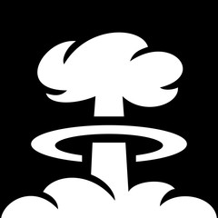 Simple, black and white mushroom cloud (nuclear explosion). White on black