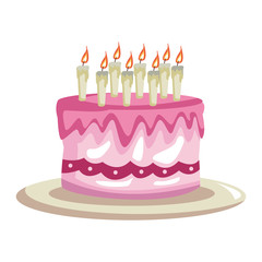 Birthday cake with candles cartoon vector illustration graphic design