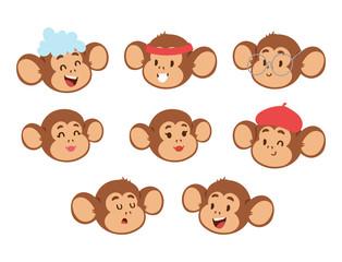 Monkeys rare animal vector cartoon macaque head like people nature primate character wild zoo ape chimpanzee illustration.