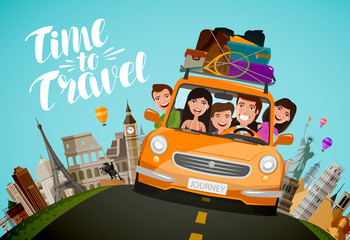 Poster Cartoon cars Journey, travel concept. Happy family rides in car on vacation. Cartoon vector illustration