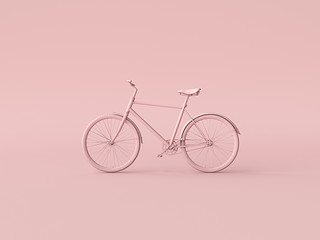 Ckassic vintage Bike mono color concept on pink color background copy space. 3d render