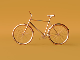 Ckassic vintage Bike mono color concept on orange color background copy space. 3d render