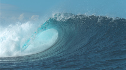 Autocollant pour porte Eau CLOSE UP: Powerful Cloudbreak wave violently swirls in awesome sunny weather.
