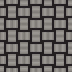 Trendy twill weave Lattice. Abstract Geometric Background Design. Vector Seamless Black and White Pattern.