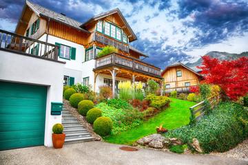Beautiful houses in Brauhof village on the lake Grundlsee.