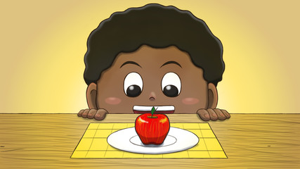 Close-up illustration of a black boy staring at an apple on the table.