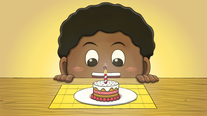 Close-up illustration of a black boy staring at a mini birthday cake on the table.