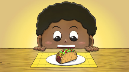 Close-up illustration of a black boy staring at a taco on the table.