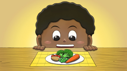 Close-up illustration of a black boy staring at vegetables on the table.