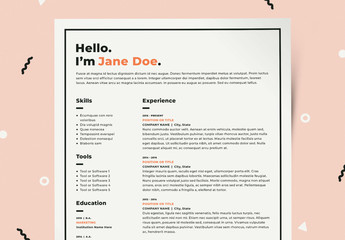 Resume Layout Kit with Orange Accents